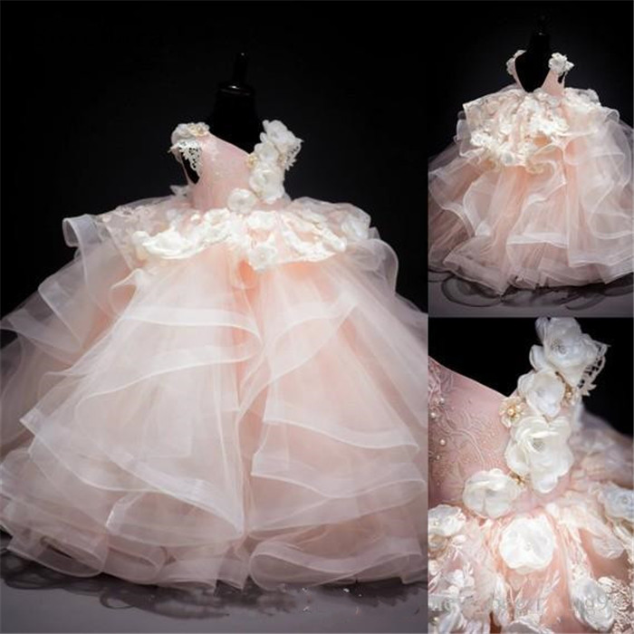 3D Applique Flowers Girls Dresses Ball Gown Pearls Tired Organza Luxurious Girl Birthday Dress Pageant Gown Custom Made3D Applique Flowers Girls Dresses Ball Gown Pearls Tired Organza Luxurious Girl Birthday Dress Pageant Gown Custom Made