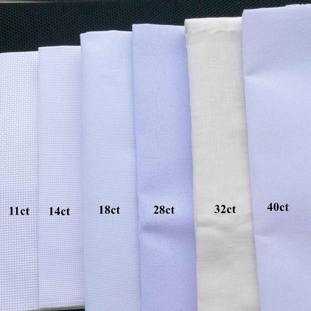 Aida cloth 14ct 18ct 28ct 40ct cross stitch fabric canvas small grid white DIY handcraft supplies stitching embroidery craft