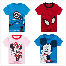 Boy Avengers Clothes Boy's T Shirt Popular Hero Cute Girl Minnie Mouse Minnie Top Short-sleeved Printing T-shirt for 2-13year(China)