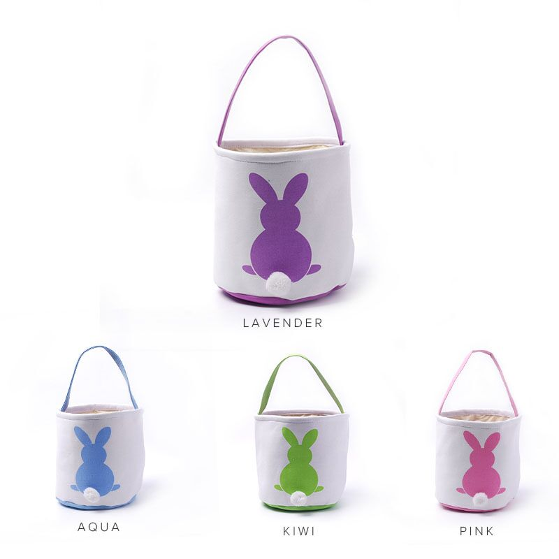 White Bunny Easter Baskets Wholesale Blanks Canvas Easter Buckets With Moveable White Tail Easter Day Kids Gift Tote DOM106784