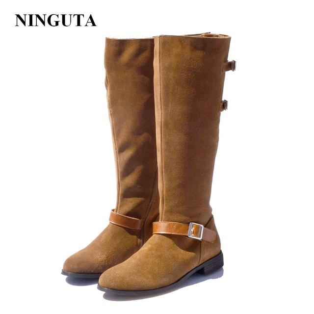 d76c118e7f62 NINGUTA daim automne genou bottes femmes chaussures à talons bas femme  largeur peut être ajustée