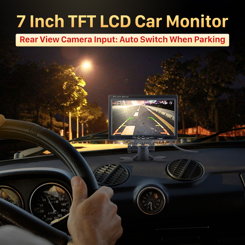 Seicane Universal 7 Inch Car Monitor DVR TFT LCD Display AV Auto Parking Digital Video Recoder with Wire Rearview Camera free