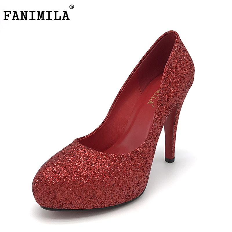 FANIMILA Ladies New High Heels Shoes Women Platform Sexy Thick Heeled Pumps Rivets Round Toe Wedding Shoes Footwear Size 33-43 women high heel shoes brand quality platform round toe pumps ladies fashion sexy gladiator rivets shoes women size 35 46 b195