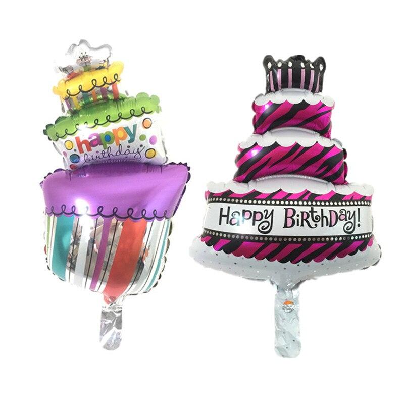 BINGTINA Free shipping new mini birthday cake gift cake aluminum balloons birthd