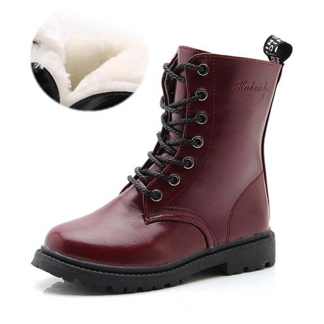 Children's boots high quality lace-up boys and girls martin boots for 2-14Year autumn winter big kids fashion boots size 27-37