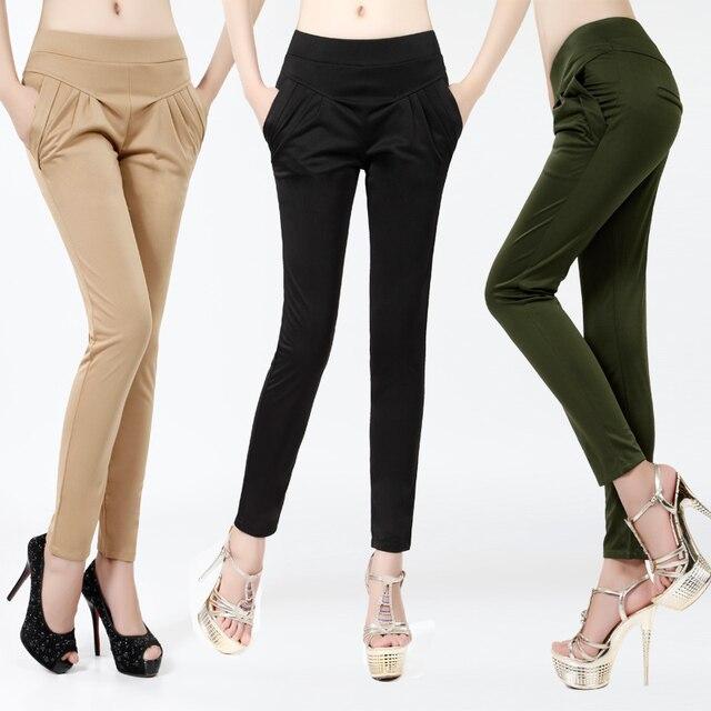 free shipping fashion women plus size Haroun pants leisure high waist pants black/khaki/Army green/red color S/M/XL/XXL/XXXL