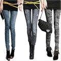 Plus Velvet Thick Autumn Winter Fashion Design Solid Slim Skinny Printed Denim Leggings for Women Black Blue Fake Jeans Legging
