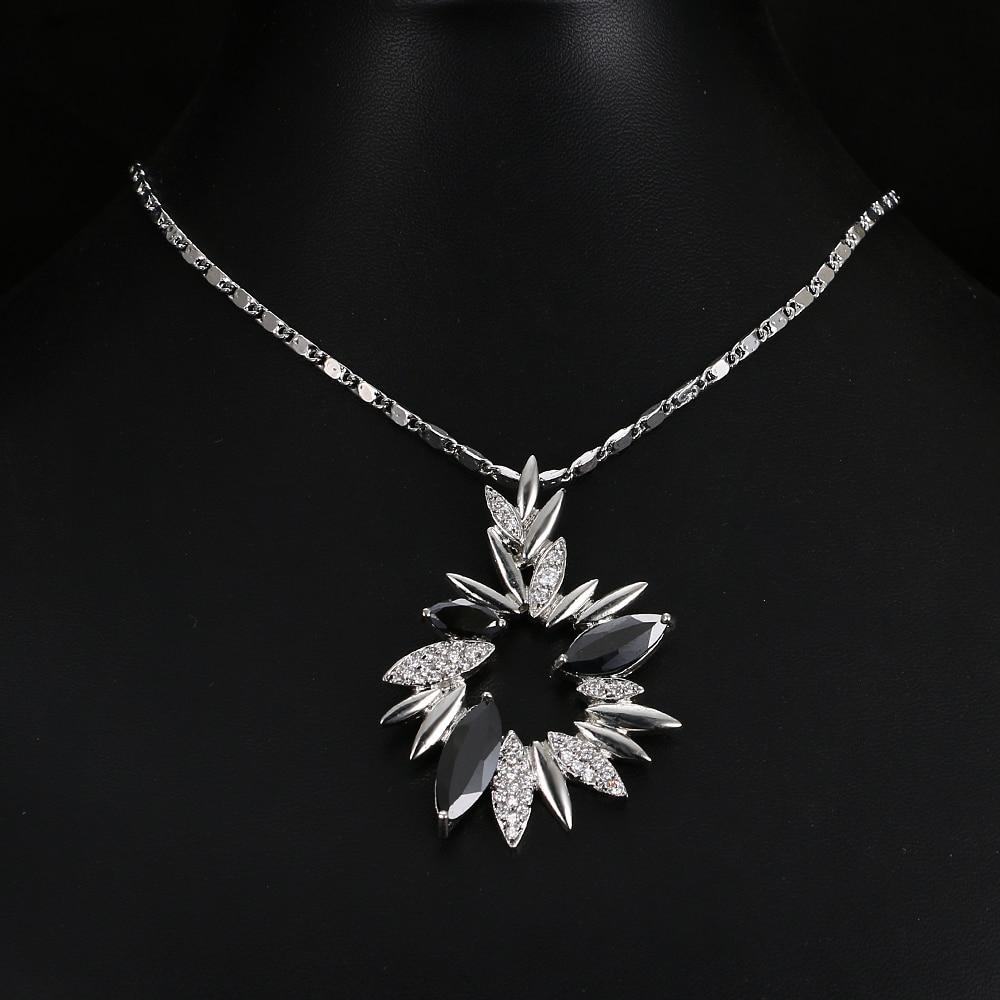 Emmaya luxe fleur cristal pendentifs colliers pour femmes noir strass - Bijoux fantaisie - Photo 2