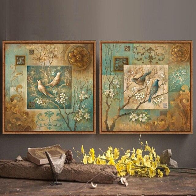 Albero Uccello fiori pittura quadri su tela per soggiorno green ...