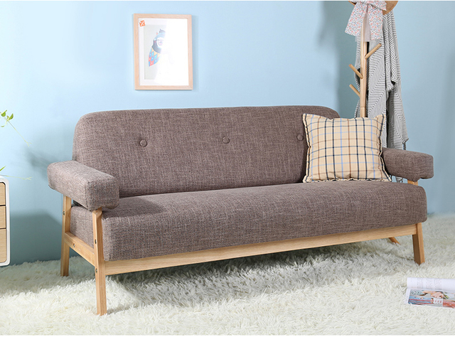 Mid Century Modern Colorful Linen Fabric Sofa Couch 3 Seater Dark Grey/Blue  Color Living