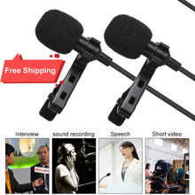 4 M Dual-Head Lavalier Revers Clip-On Microfoon Voor Lezing Of Interview Voor Smartphone Mobiele Telefoon En tabletten Interview Microfoons(China)
