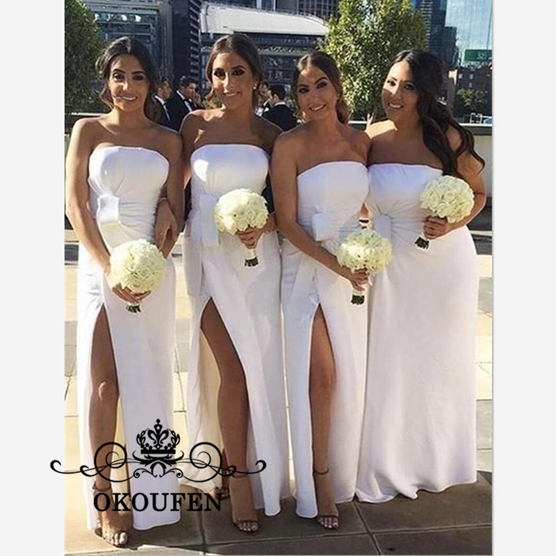 Cheap White   Bridesmaid     Dresses   For Women 2019 Strapless Side Split Ankle Length Long Party   Dress   Maid Of Honor For Women