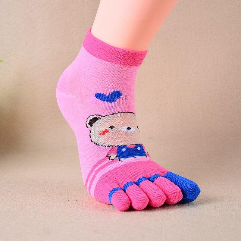 Cartoon Bear toe socks 10pcs = 5 pairs New winter Wuzhi socks female cotton thickened long five toe socks Meias women Socks