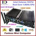 2016 Nova Mini Fanless PC Industrial Do Computador, intel celeron cpu 1037u, Barebone, 2*1000 M LAN, 4 * COM, 4 * USB 3.0, 300 M WiFi, HDMI