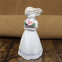 Antique Porcelain Spring Girl Sculpture Handmade Ceramics Desktop Figure Ornament Gift Craft for Art Collection and Home Decor