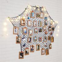 Special Hanging Photo Frame Display Photo Frame DIY Fishing Net Wall Picture Holder With Paper Picture Frame Clips Nails New