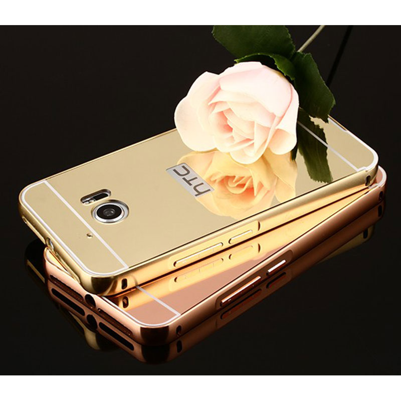 Luxury Plating Metal Aluminum Frame Back Mobile Cover For HTC one M8 M9 M10 816 820