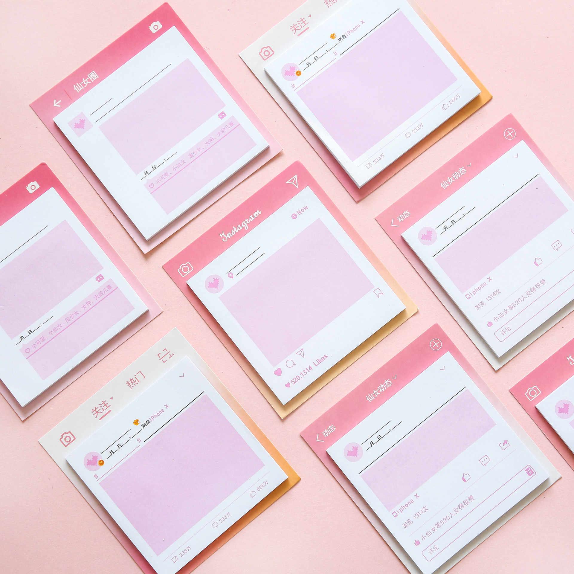 Nhật bản màu hồng cô gái xinh đẹp trong Harahufeng thuận tiện để dán cổ tích vòng tròn của bạn bè N lần có thể xé một tin nhắn lưu ý cuốn sách