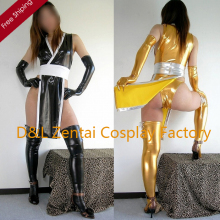 Free Shipping DHL Adult Sexy Costume Black And Gold Shiny Metallic Zentai Catsuits for Women MY001