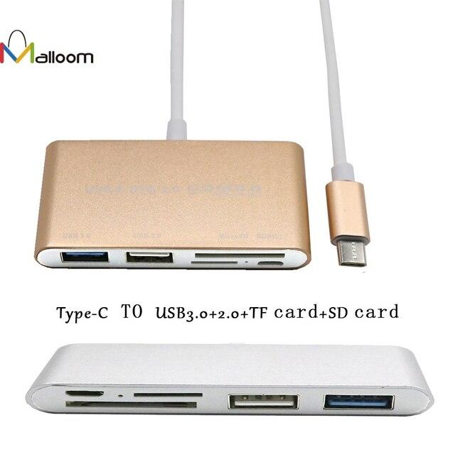 Malloom Hợp Kim Nhôm USB 3.0 HUB 5-Trong-1 Type-C USB-C 3.1 OTG USB 3.0 Hub SD/TF Card Reader Combo Cho Máy Tính Xách Tay cho Macbook #30