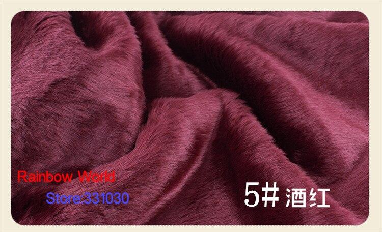 Tissu en peluche rouge foncé 1 mètre   Bricolage, poils de lapin en Imitation 2cm pour le manteau, matériel pour le tapis 5 #