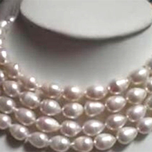 9-10mm white rice barrel freshwater cultured natural pearl beads necklace fashion party gifts elegant jewelry 48inch GE4031 Chai