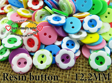 100PCS 12.5MM Flower shape mixed colors Dyed resin buttons coat swearter kids button sewing decorative clothes accessories P-071