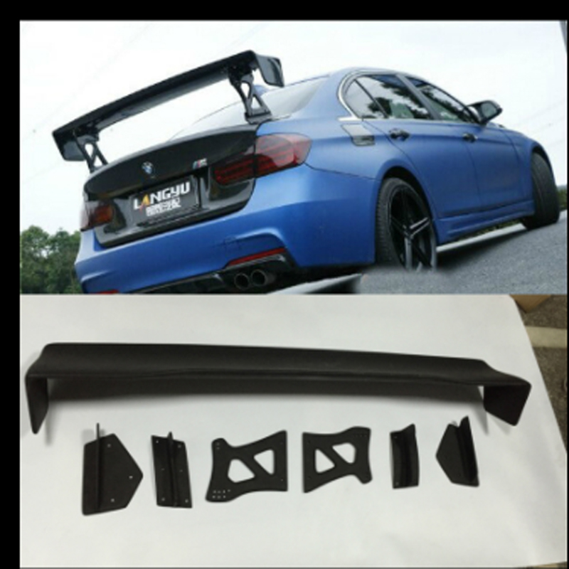 For BMW M3 E90 E92 E46 F30 GTS Style 100% Carbon Fiber Universal Rear Wing Spoiler m3 m4 z4 e90 e92 e46 f30 f32 f10 f80 f82 rubber carbon fiber car styling rear lip spoiler roof wing for bmw any car