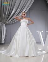 Robe De Mariee Real Photo Handmade Flower Lace Up Satin Wedding Dress 2016 Strapless Ball Gown
