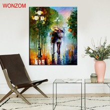 Romantic Painting By Numbers DIY HandPainted Walk in Rain PicturesColoring By Numbers On Canvas Pictures For Living Home Decor