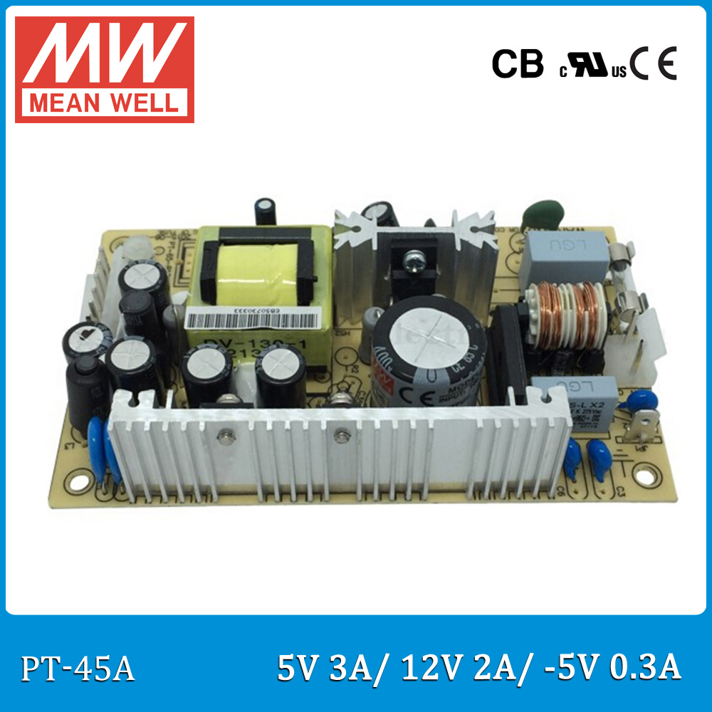 Original MEAN WELL PT-45A 45W triple output 5V 12V -5V Switching Power Supply open frame type PT-45 dhl eub 5pcs new mean well switching power supply d 60a 5v 12v 60w 015 17
