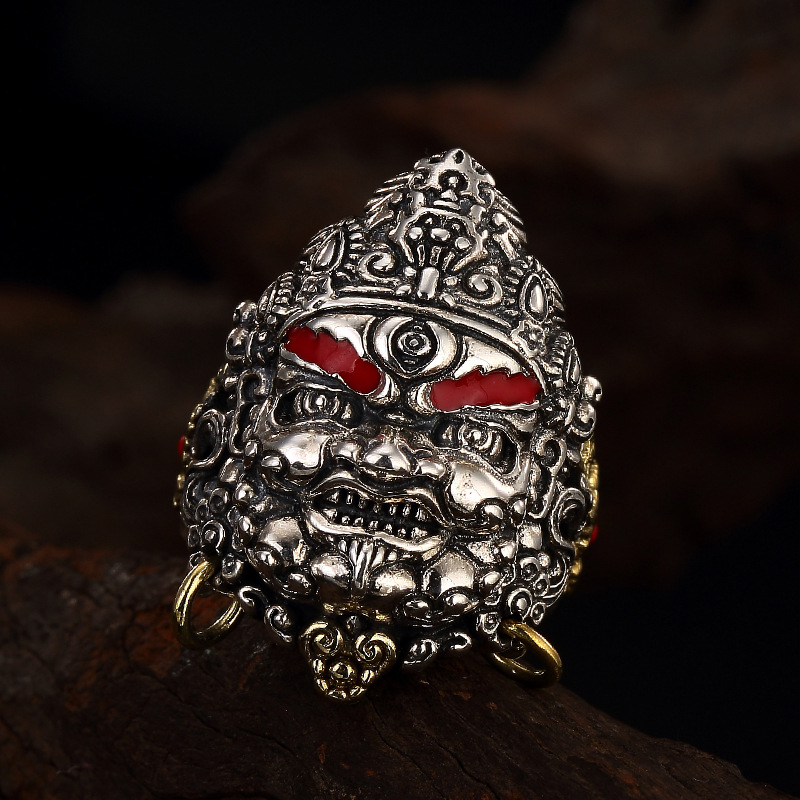 цена на S925 silver retro yellow Mammon Cloisonne opening ring silver ring wholesale male domineering personality