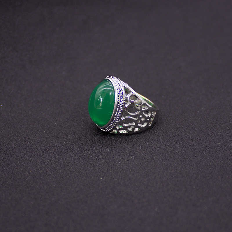 2019 Vintage แหวนชายสีเขียวรูปไข่แหวนหินหมั้นเครื่องประดับ anillos hombre