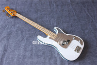 New White 4 Strings Musical Instruments Bass Guitar Mirror Pickguard