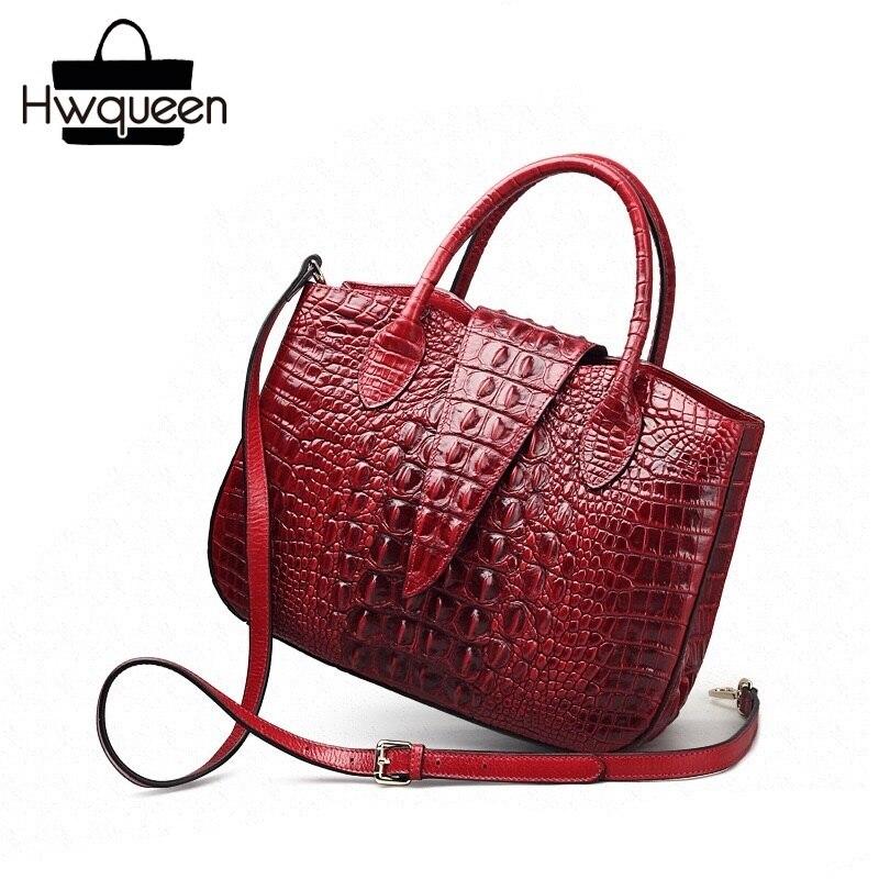 Fantaisie Crocodile Designer dame grand sac à main en cuir de vache véritable sac à bandoulière femme sac à main Alligator modèle femmes Portable sac