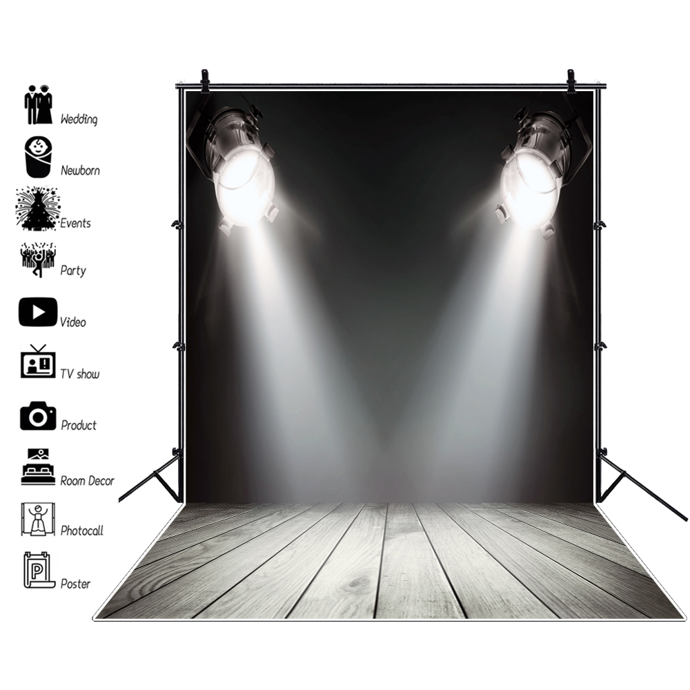 Laeacco Stage Backdrops Shiny Spotlights Hardwood Wooden Floor Baby Play Show Birthday Portrait Photo Backgrounds Photo Studio image