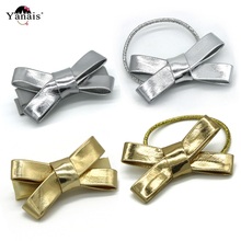 Europe Kids Hair Accessories PU Bows Elastic Bands Hairpins Gold Sliver