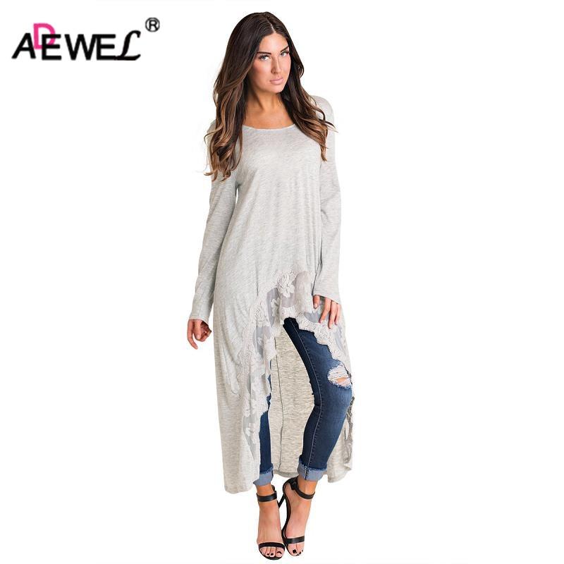 ADEWEL 2018 Spring Casual Loose Shirt Dress High Low Lace Trimming Women Long Dress Long Sleeve Fashion Maxi Dress Pluz Size