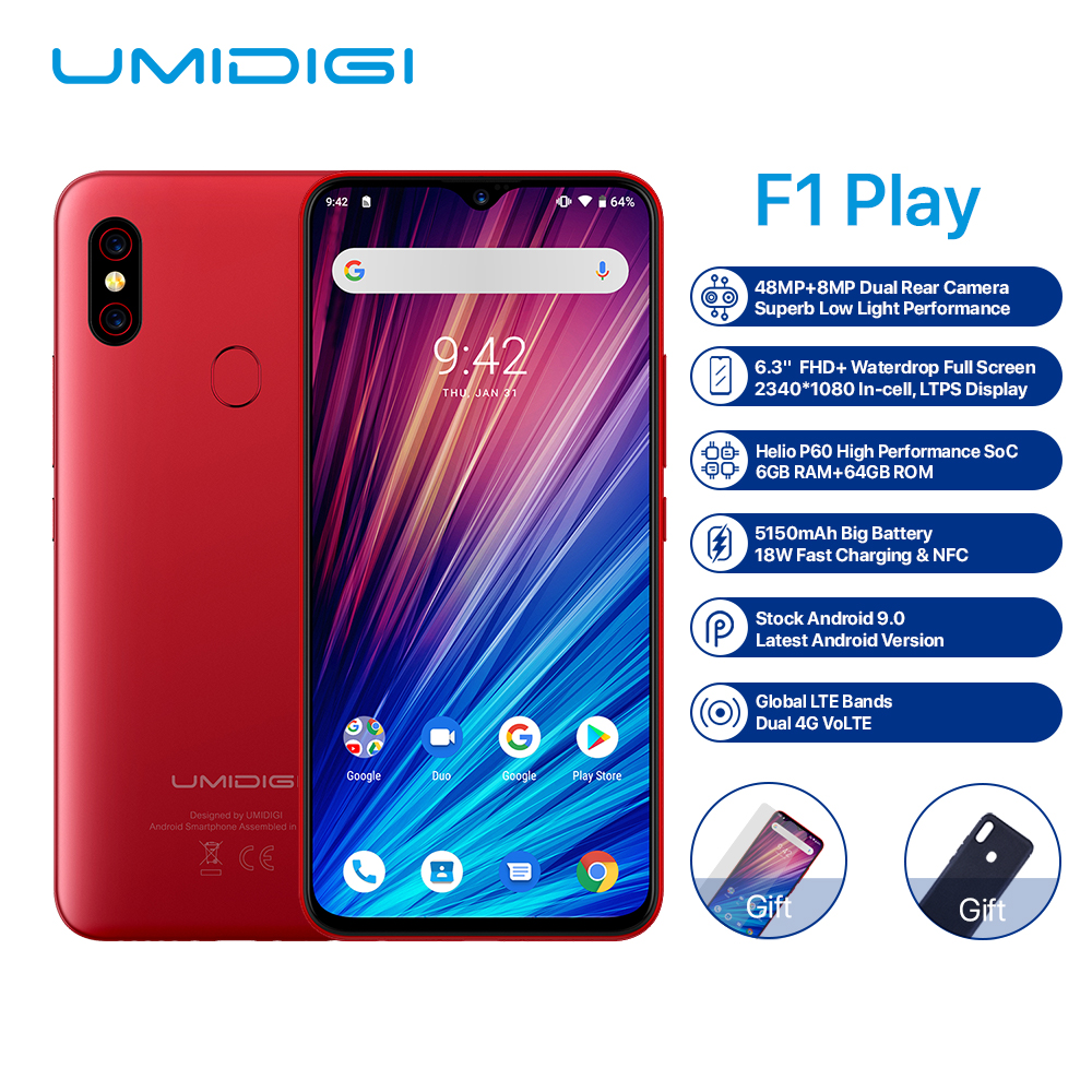 """2019 NEW Global Version UMIDIGI F1 Play Android 9.0 48MP Mobile Phone 6GB+64GB 6.3""""FHD Helio P60 Octa Core NFC OTG 4G Smartphone"""