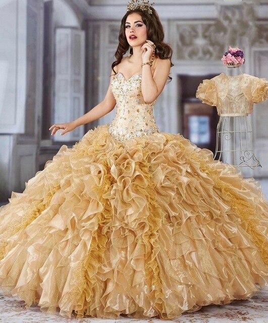 Amarelo 2016 Vestidos Quinceanera Com Jacket Formal vestido de Baile Plus Size Doce 16 Anos Princesa Vestidos Para 15 Anos de Turco