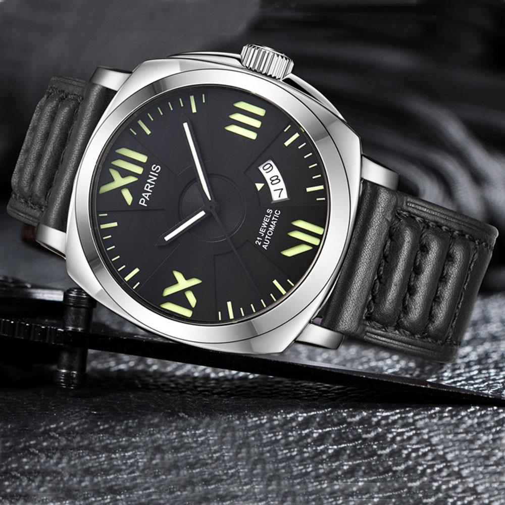 2017 nouveautés montres hommes Top marque montre automatique de luxe Parnis 44mm montres mécaniques calendrier lumineux 100 M natation