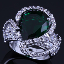 Charming Big Water Drop Green Cubic Zirconia White CZ 925 Sterling Silver Ring For Women V0571