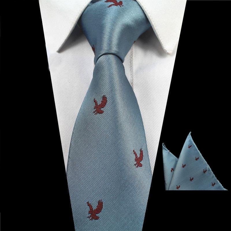 RBOCOTT Mens Animal Patterned Tie And Handkerchief Set 2PCS Tie Set 7 Cm Neck Ties Pocket Square For Men Wedding Party