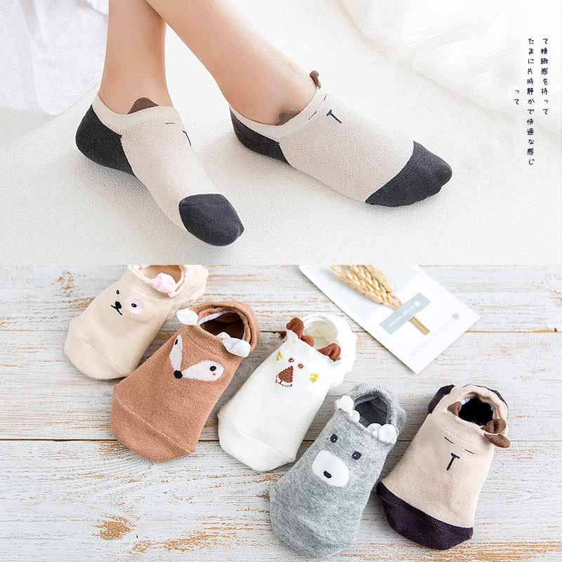 Cotton Shallow Mouth Thin Short Socks Women Stereoscopic Animal Fashion Short Socks Invisible Breathable Hosiery 2019