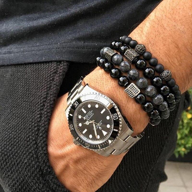 Natural India Labrado Bead Bracelet Men natural Bead Black Buddha For Mens couple Cubic Zirconia Crystal drops hipping Bracelets