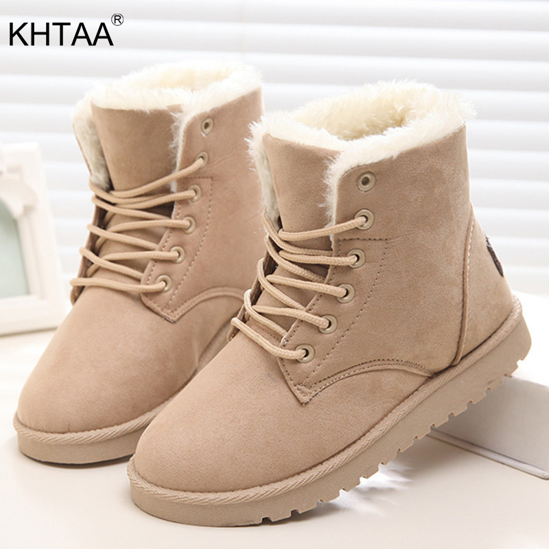 Snow Boots 2018 New Women's Winter Warm Plus Size Platform Lace Up Ladies Fur Suede Flat Black Ankle Boots Female Fashion Shoes ribetrini 2017 fashion cow suede turned over edge ankle snow boots sewing warm fur platform low flat women shoes size 34 39