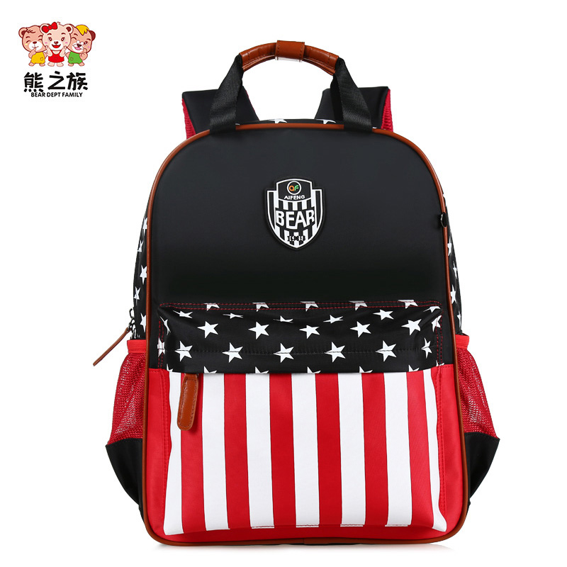 BEAR DEPT FAMILY Children School Backpack for Boys Girls Orthopedic Backbags Primary Teenagers Travel Bagpack Striped Mochila
