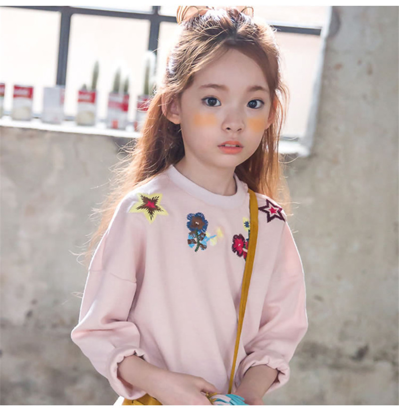 2016 Baby Girl 3-12Y Kids embroider clothes pink Hoodies tops Sweatsuit baby Girl pullover Spring Fall children clothing