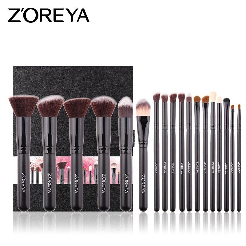 цена на ZOREYA 18PCS Makeup Brushes Professional Cosmetic Brush Set Powder Blush Foundation Blending Eyebrow Brush Make Up Tool Kits