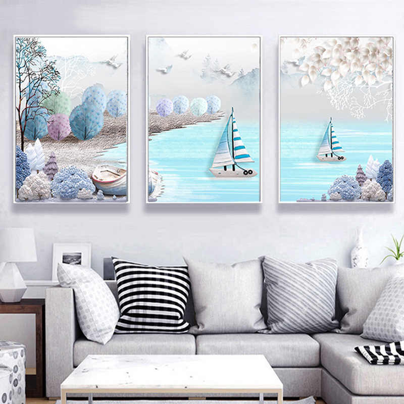 HAOCHU Nordic Mediterranean Sea Sailing Ship Print Art Poster Triptych Abstract Canvas Painting Kids Room Wall Decor